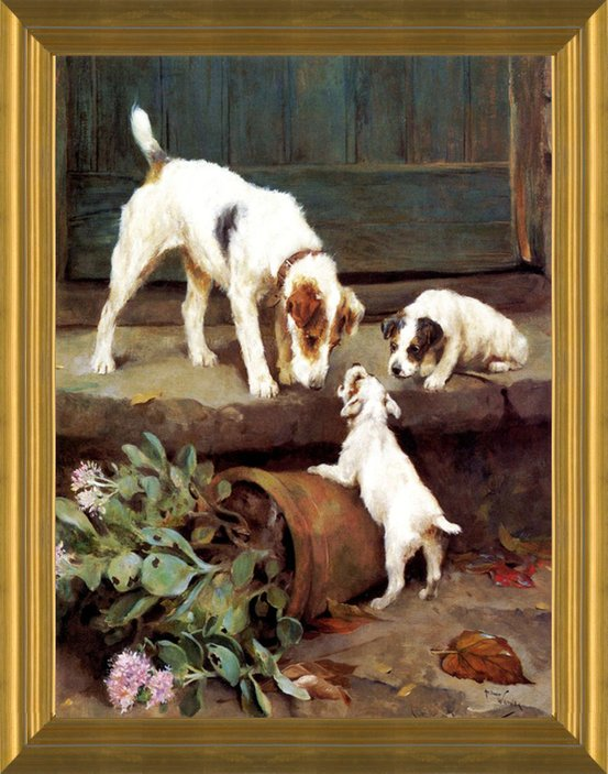 Art Prints Of A Wire Hair Fox Terrier With Puppies By Arthur Wardle
