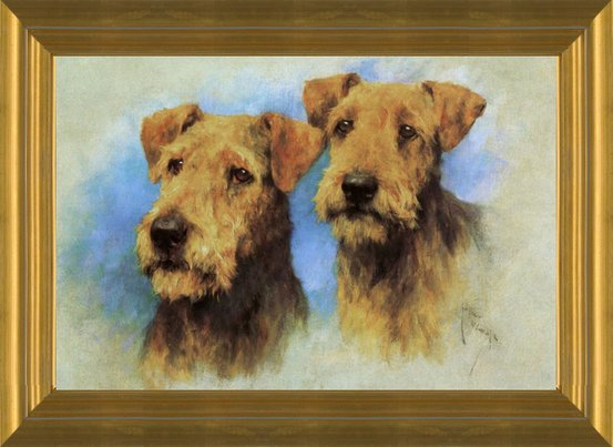 4x6  glossy modern dog folk art gift- pet ART GLOSSY Airedale Terrier