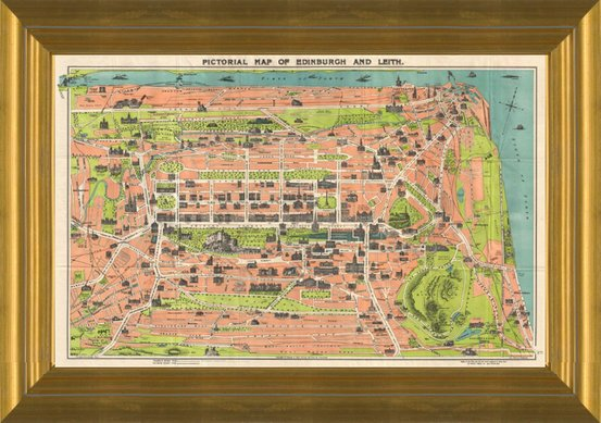 Art Prints of Pictorial Map of Edinburgh & Leith, Scotland 1935 by ...