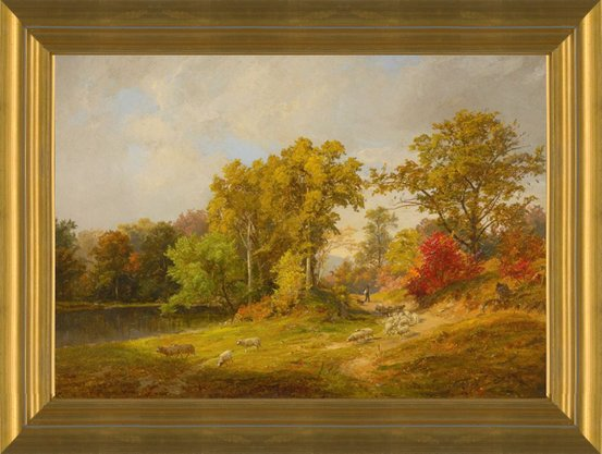 Autumn Landscape with Shepherd Dog and Sheep by Jasper Francis Cropsey |  Fine Art Print