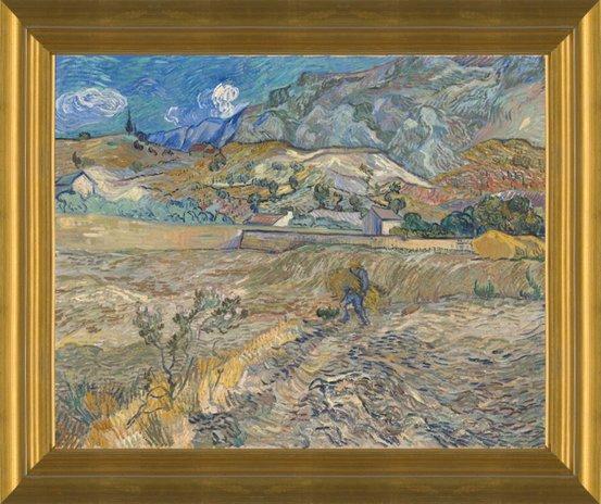 Landscape at Saint Remy with Peasant by Vincent Van Gogh   Fine Art Print