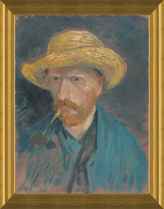 a53cc6711b8 Art Prints of Self Portrait with Pipe and Straw Hat II by Vincent Van Gogh